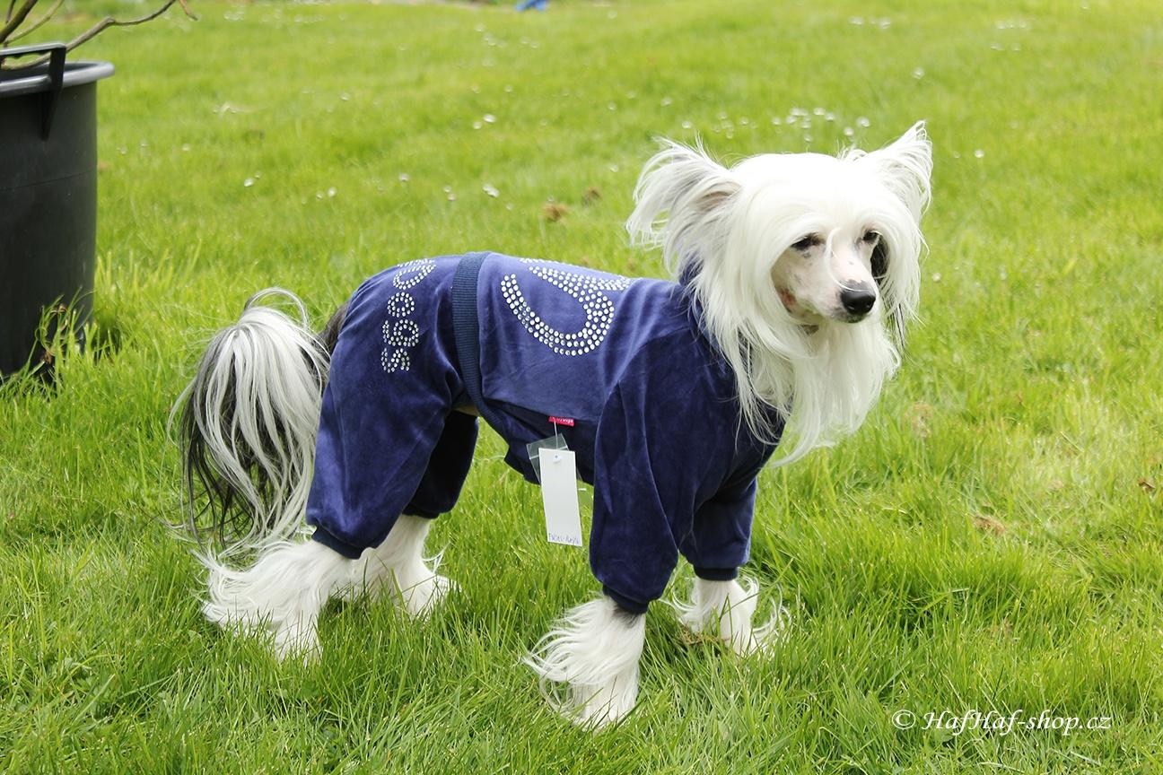 Oblečky pro psy – Velurový overal pro psy i fenky, modrý s kamínky