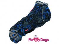 Obleček pro psy jezevčíků – teplý zimní overal BLUE od ForMyDogs z voduodpudivého materiálu. Zapínání na zádech, plyšová podšívka.