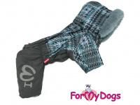 Obleček pro psy – sinteponem zateplený zimní overal GRAY od ForMyDogs. Vylepšené zapínání na zádech, odnímatelná kapuce, plyšová podšívka. (3)