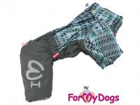 Obleček pro psy – sinteponem zateplený zimní overal GRAY od ForMyDogs. Vylepšené zapínání na zádech, odnímatelná kapuce, plyšová podšívka. (4)