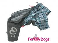 Obleček pro psy – sinteponem zateplený zimní overal GRAY od ForMyDogs. Vylepšené zapínání na zádech, odnímatelná kapuce, plyšová podšívka. (5)