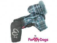 Obleček pro psy – sinteponem zateplený zimní overal GRAY od ForMyDogs. Vylepšené zapínání na zádech, odnímatelná kapuce, plyšová podšívka.