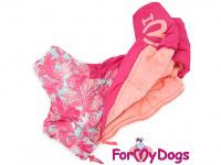 Obleček pro fenky – růžový, sinteponem zateplený zimní overal PINK od ForMyDogs. Vylepšené zapínání na zádech, odnímatelná kapuce. (4)