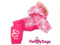Obleček pro fenky – růžový, sinteponem zateplený zimní overal PINK od ForMyDogs. Vylepšené zapínání na zádech, odnímatelná kapuce. (2)