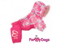 Obleček pro fenky – růžový, sinteponem zateplený zimní overal PINK od ForMyDogs. Vylepšené zapínání na zádech, odnímatelná kapuce. (3)