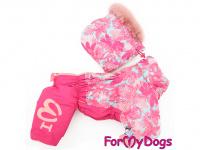 Obleček pro fenky – růžový, sinteponem zateplený zimní overal PINK od ForMyDogs. Vylepšené zapínání na zádech, odnímatelná kapuce.