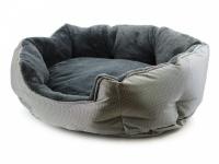 """Unikátní oboustranný pelíšek pro psy s funkcní """"Thermo switch"""" – z jedné strany hřející, vykládaný kožešinou, z druhé chladivý. Barva stříbrno-šedá. (6)"""