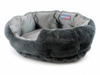 """Unikátní oboustranný pelíšek pro psy s funkcní """"Thermo switch"""" – z jedné strany hřející, vykládaný kožešinou, z druhé chladivý. Barva stříbrno-šedá. (7)"""