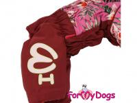 Obleček pro fenky – sinteponem zateplený zimní overal BURGUNDY od ForMyDogs. Kožešinová podšívka, vylepšené zapínání na zádech. (5)