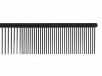 Antistatický kovový hřeben pro psy s teflonovým povrchem vhodný na běžnou úpravu srsti od SHOW TECH. Hřeben má dvě poloviny s rozdílnou hustotou zubů, délka hřebenu 19 cm, zuby 30 mm. (2)