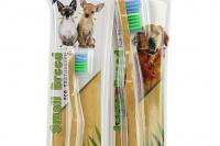 Zubní kartáček pro psy s bambusovou rukojetí. Výběr velikostí pro malé i velké psy a pro kočky. (2)