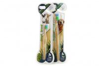 Zubní kartáček pro psy s bambusovou rukojetí. Výběr velikostí pro malé i velké psy a pro kočky.