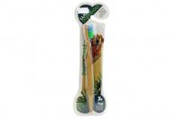 Zubní kartáček pro psy s bambusovou rukojetí. Výběr velikostí pro malé i velké psy a pro kočky. (4)