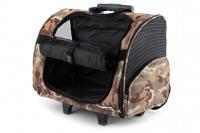 Kombinovaná taška-batoh na psy CAMON s odnímatelnými kolečky a výsuvným madlem. Nosnost 10 kg, lze nosit samostatně, rozměry 43 × 26 × 32 cm. (11)