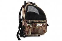 Kombinovaná taška-batoh na psy CAMON s odnímatelnými kolečky a výsuvným madlem. Nosnost 10 kg, lze nosit samostatně, rozměry 43 × 26 × 32 cm. (3)