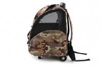 Kombinovaná taška-batoh na psy CAMON s odnímatelnými kolečky a výsuvným madlem. Nosnost 10 kg, lze nosit samostatně, rozměry 43 × 26 × 32 cm. (7)
