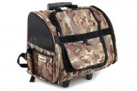 Kombinovaná taška-batoh na psy CAMON s odnímatelnými kolečky a výsuvným madlem. Nosnost 10 kg, lze nosit samostatně, rozměry 43 × 26 × 32 cm.