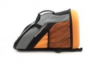Batoh na psa s nosností 8 kg. Polstrovaná zadní strana, pevné skořepinové dno, hrudní pás pro rozložení váhy, vyjímatelná podložka. Barva šedo-oranžová. (11)