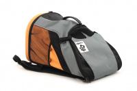 Batoh na psa s nosností 8 kg. Polstrovaná zadní strana, pevné skořepinové dno, hrudní pás pro rozložení váhy, vyjímatelná podložka. Barva šedo-oranžová. (9)