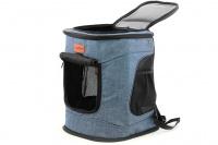 Batoh na psa s nosností 6 kg. Polstrované popruhy i zadní stěna, spodní, přední i horní část batohu na zip, vyjímatelné dno. Barva modro-černá. (2)