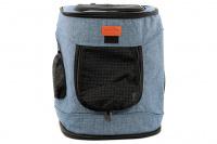 Batoh na psa s nosností 6 kg. Polstrované popruhy i zadní stěna, spodní, přední i horní část batohu na zip, vyjímatelné dno. Barva modro-černá. (3)