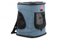 Batoh na psa s nosností 6 kg. Polstrované popruhy i zadní stěna, spodní, přední i horní část batohu na zip, vyjímatelné dno. Barva modro-černá. (4)
