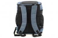 Batoh na psa s nosností 6 kg. Polstrované popruhy i zadní stěna, spodní, přední i horní část batohu na zip, vyjímatelné dno. Barva modro-černá. (7)