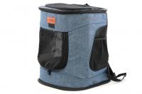 Batoh na psa s nosností 6 kg. Polstrované popruhy i zadní stěna, spodní, přední i horní část batohu na zip, vyjímatelné dno. Barva modro-černá. (8)