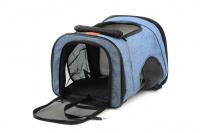 Batoh na psa s nosností 6 kg. Polstrované popruhy i zadní stěna, spodní, přední i horní část batohu na zip, vyjímatelné dno. Barva modro-černá. (9)