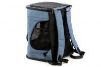 Batoh na psa s nosností 6 kg. Polstrované popruhy i zadní stěna, spodní, přední i horní část batohu na zip, vyjímatelné dno. Barva modro-černá.
