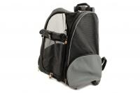 Černá taška pro psy na kolečkách + batoh v jednom