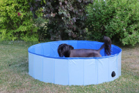 Bazén pro psy z odolného materiálu. Rozložení během několika vteřin, neklouzavé dno, odvodňovací ventil. Rozměry 120 × 30 cm. (4)