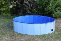 Bazén pro psy z odolného materiálu. Rozložení během několika vteřin, neklouzavé dno, odvodňovací ventil. Rozměry 120 × 30 cm. (10)