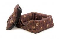 Multifunkční pelíšek pro psy sloužící jako uzavřená bouda nebo pelíšek s okrajem. Barva hnědá se vzorem. (3)