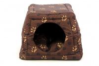 Multifunkční pelíšek pro psy sloužící jako uzavřená bouda nebo pelíšek s okrajem. Barva hnědá se vzorem. (4)