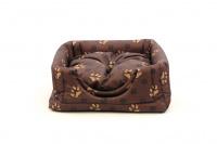 Multifunkční pelíšek pro psy sloužící jako uzavřená bouda nebo pelíšek s okrajem. Barva hnědá se vzorem.