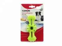 Hračka pro psy do vody od CAMON z pěnové TPR gumy. Strukturovaný povrch vhodný pro aportování, rozměry 14 × 5 × 4 cm, barvy zelená a oranžová. (3)