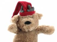 Vánoční pískací hračka pro psy od ROSEWOOD – roztomilý plyšový medvídek s červenou čepičkou. Měkoučký materiál, velikost cca 32 cm. (3)