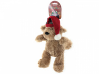 Vánoční pískací hračka pro psy od ROSEWOOD – roztomilý plyšový medvídek s červenou čepičkou. Měkoučký materiál, velikost cca 32 cm.