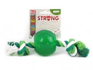 """Kousací hračka pro psy – míček z """"nezničitelné"""" gumy s provlečeným provazem s vůní a příchutí máty"""