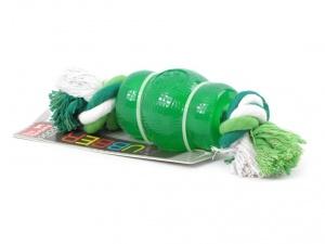 """Kousací hračka pro psy – soudek z """"nezničitelné"""" gumy s provlečeným provazem s vůní a příchutí máty"""
