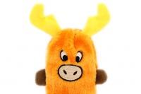 Plyšová hračka pro psy – pískací sob. Velikost hračky cca 19 cm, vhodná pro štěňata a malá plemena psů. Barva oranžová. (2)