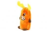 Plyšová hračka pro psy – pískací sob. Velikost hračky cca 19 cm, vhodná pro štěňata a malá plemena psů. Barva oranžová. (3)
