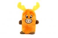 Plyšová hračka pro psy – pískací sob. Velikost hračky cca 19 cm, vhodná pro štěňata a malá plemena psů. Barva oranžová.