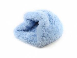 Huňatý pelíšek pro psy i kočky, spací vak – modrý (2)
