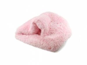 Huňatý pelíšek pro psy i kočky, spací vak – růžový (2)