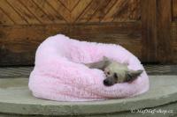 FOTO – Huňatý pelíšek pro psy i kočky od I LOVE PETS – měkké bočnice, vyjímatelný polštář, materiál luxusní soft fleece s dlouhým vlasem, růžový.