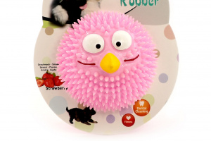 Kousací a aportovací hračka pro psy z poloměkké gumy s tvarovanými výstupky. Hračka má jemnou jahodovou vůni a chuť. Barva růžová. (2)