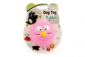 Kousací a aportovací hračka pro psy z poloměkké gumy s tvarovanými výstupky. Hračka má jemnou jahodovou vůni a chuť. Barva růžová.
