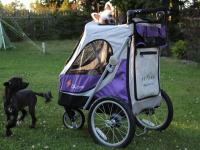 Kočárek pro psy s 38cm kolečky a nosností až 30 kg. Rozměry kabiny 72 × 45 × 60 cm, možnost připevnění upravovacího stolku. Barva fialovo-šedá. FOTO 4